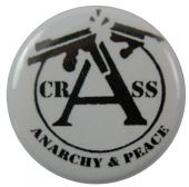 Crass - 'Anarchy & Peace White' Button Badge
